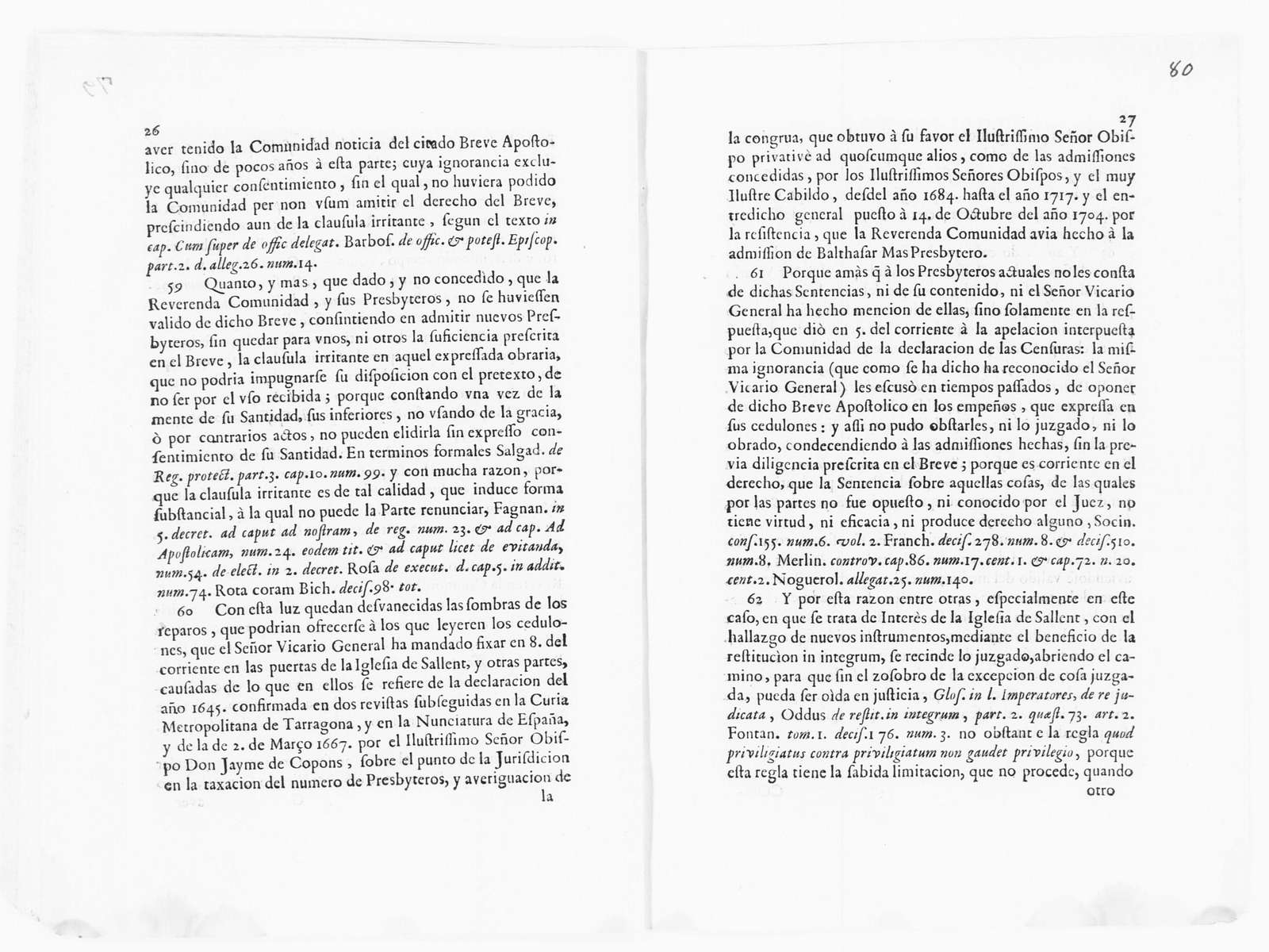 Brief on behalf Juan Barrera Barnils, the General Vicar of the Bishopric of Vic, versus the community of the parish church of Santa María of the village of Sallent, its Rector and other priests, concerning the rejection of José Bria and José Font to be members of said community of the parish church of Santa María of the village of Sallent. December 12, 1720