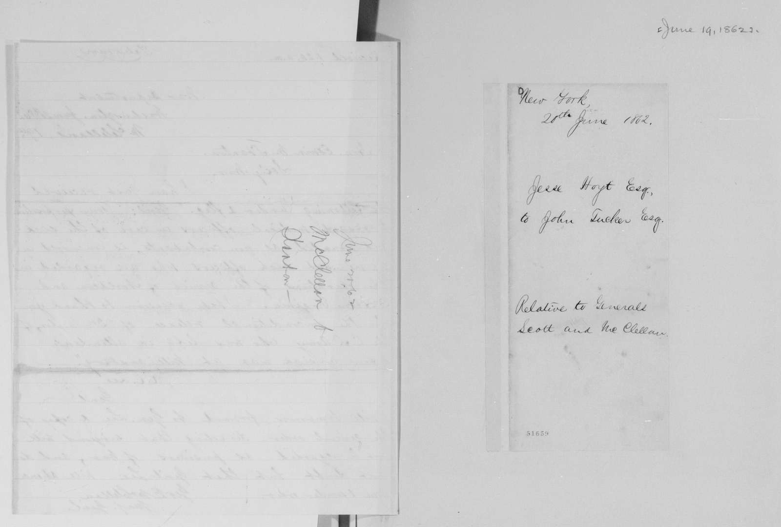 Edwin McMasters Stanton Papers: Correspondence, 1831-1870; 1862; 1862, June 19-Aug. 28