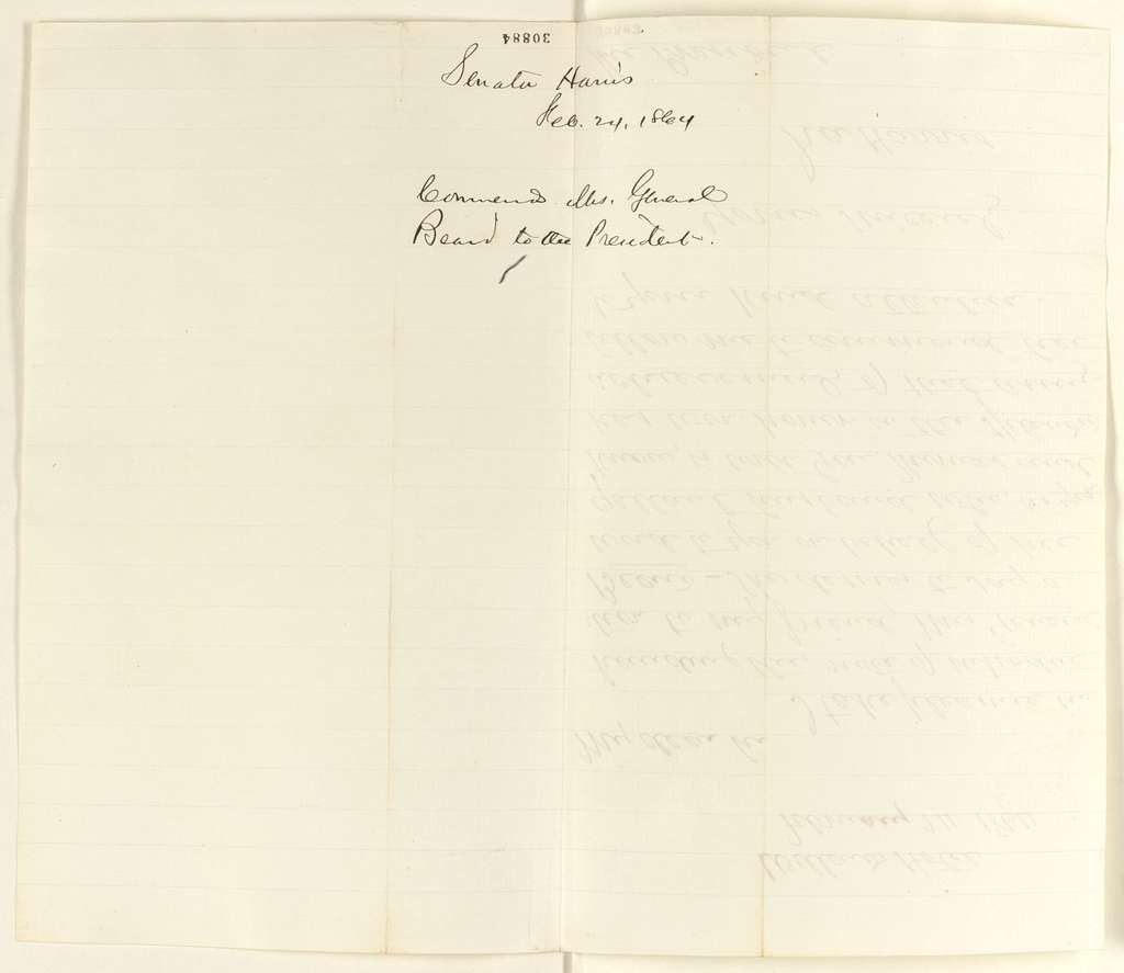 Abraham Lincoln papers: Series 1. General Correspondence. 1833-1916: Ira Harris to Abraham Lincoln, Wednesday, February 24, 1864 (Introduction)