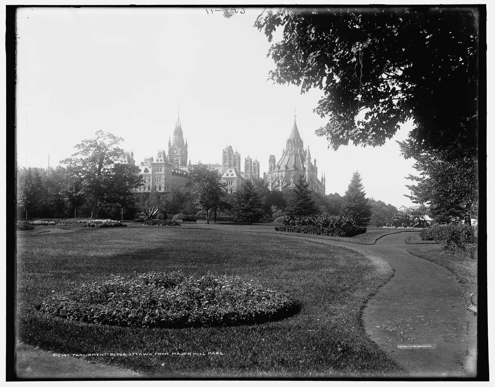 Parliament bldgs., from Major i.e. Major's Hill Park, Ottawa