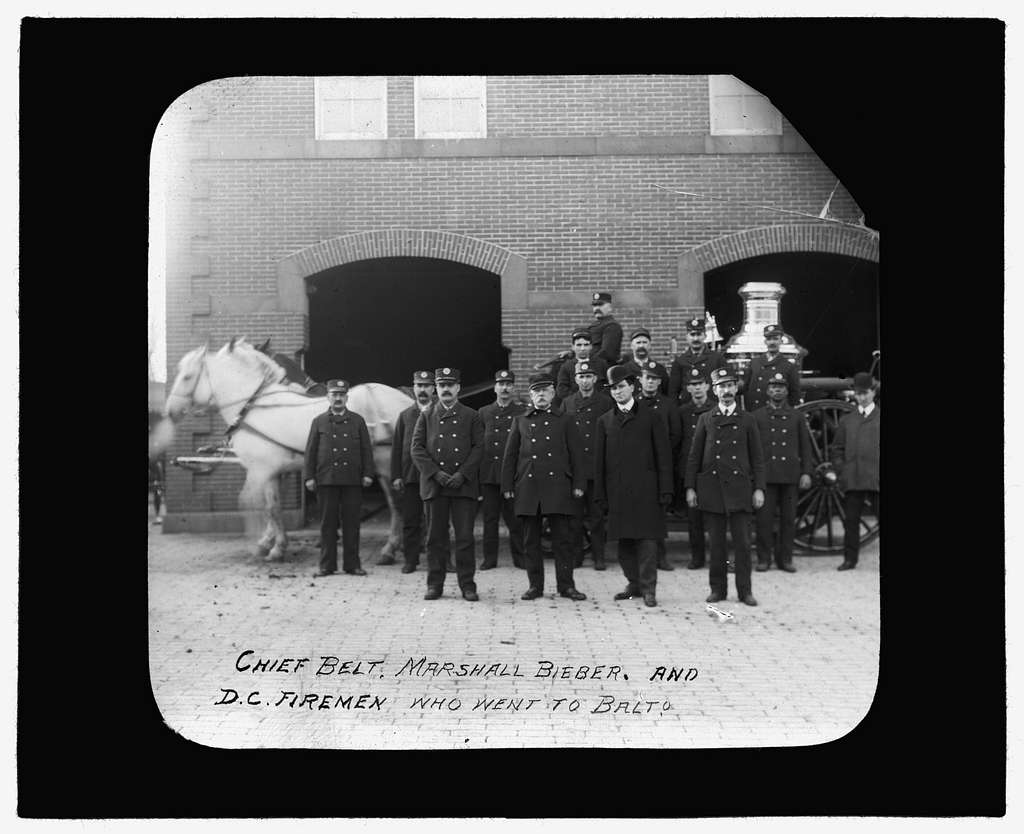 Baltimore fire, 1904 Chief Belt, Marshall Bieber and D.C. firemen who went to Balto