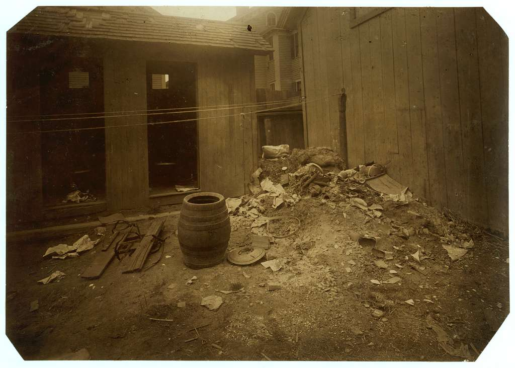 (For Child Welfare Exhibit 1912-13.) View of back yard, 70 Borden St., Providence, R.I. Location: Providence, Rhode Island