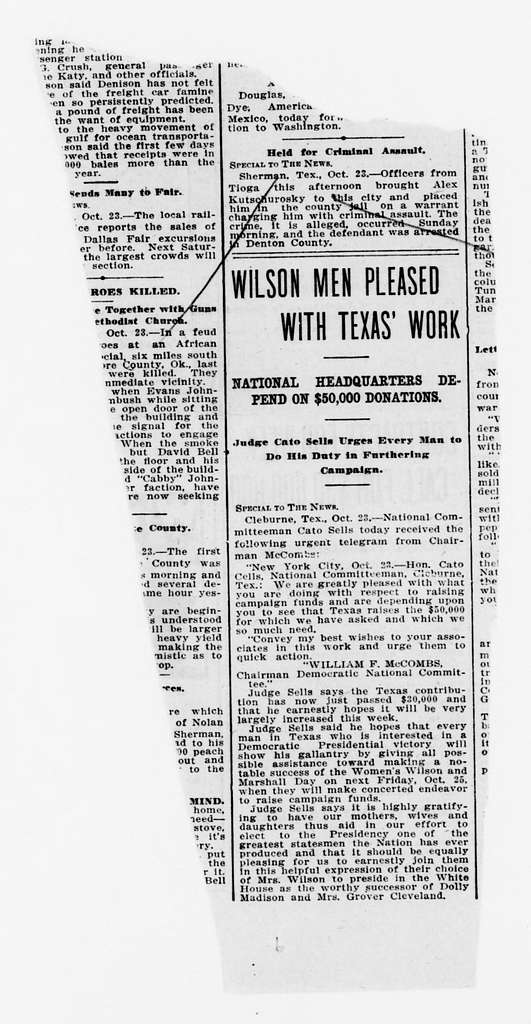 Woodrow Wilson Papers: Series 9: Scrapbooks, 1864-1944; Clippings; Political and Personal Topics; 1912, Jan.-Nov