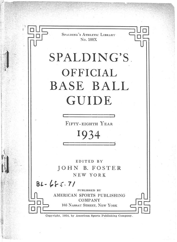 Spalding's official base ball guide, 1934