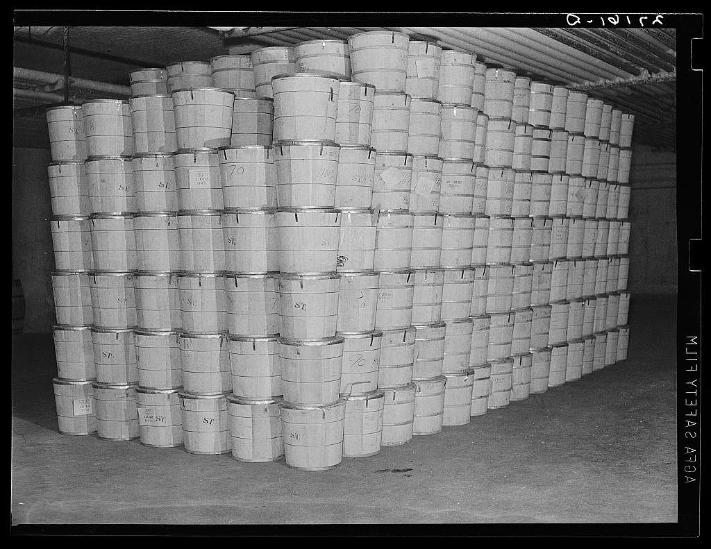 "Cold storage warehouse. Jersey City, New Jersey. Butter stored in ""freezer room"""