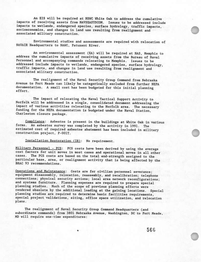 Department of the Navy FY 1995 Budget Estimates, DOD Base Closure and Realignment Program 3 (1993 Commission), Justification Data Submitted to Congress February 1994
