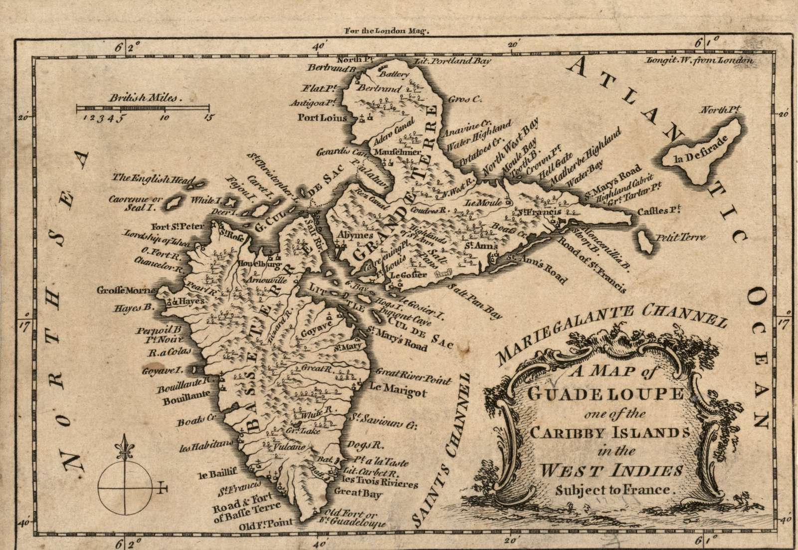 A map of Guadeloupe, one of the Caribby Islands in the West Indies subject to France.