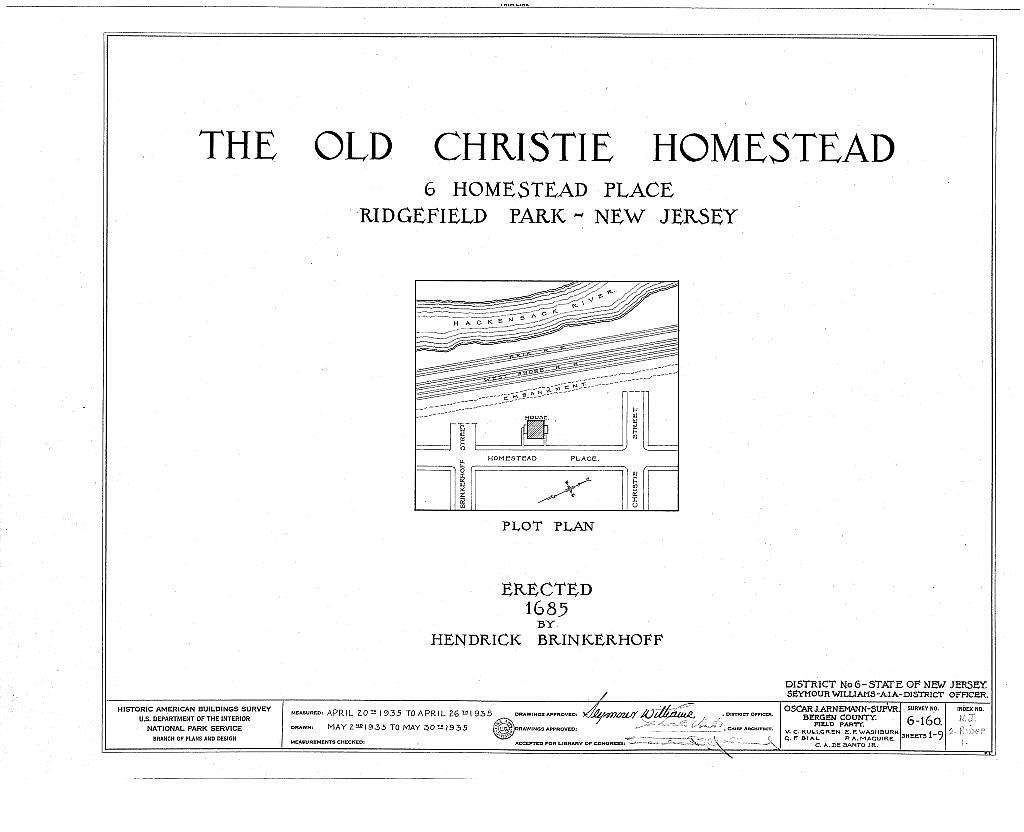 Brinkerhoff-Christie-Paulison Homestead, 8 Homestead Place, Ridgefield Park, Bergen County, NJ