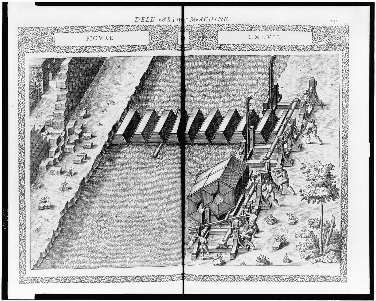 [Folding bridge - two views, top extended across moat, bottom folded prior to release; used by infantry during assault on fortress]