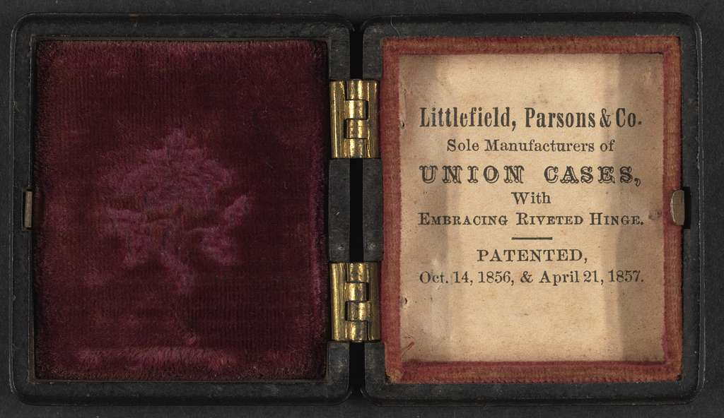 [Union case manufactured by Littlefield, Parsons & Co. showing a young sailor with flag and cannon holding a telescope on exterior]