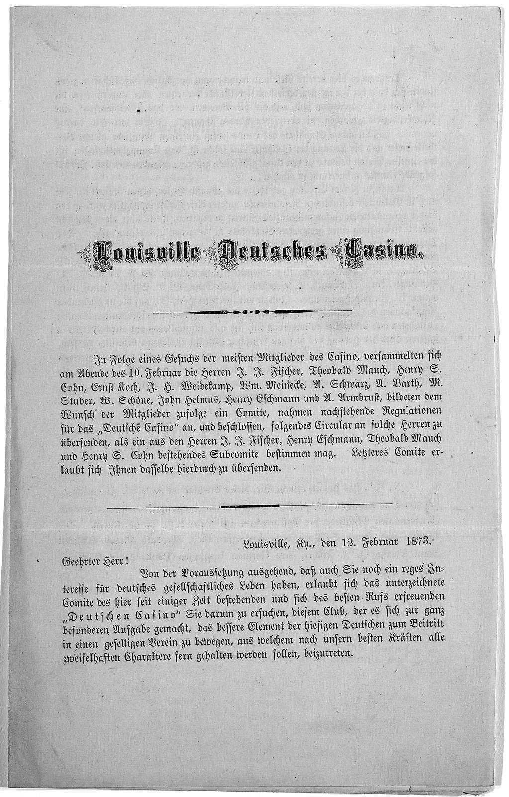 Refulationen fur das Louisville Deutsche Casino. [1873].