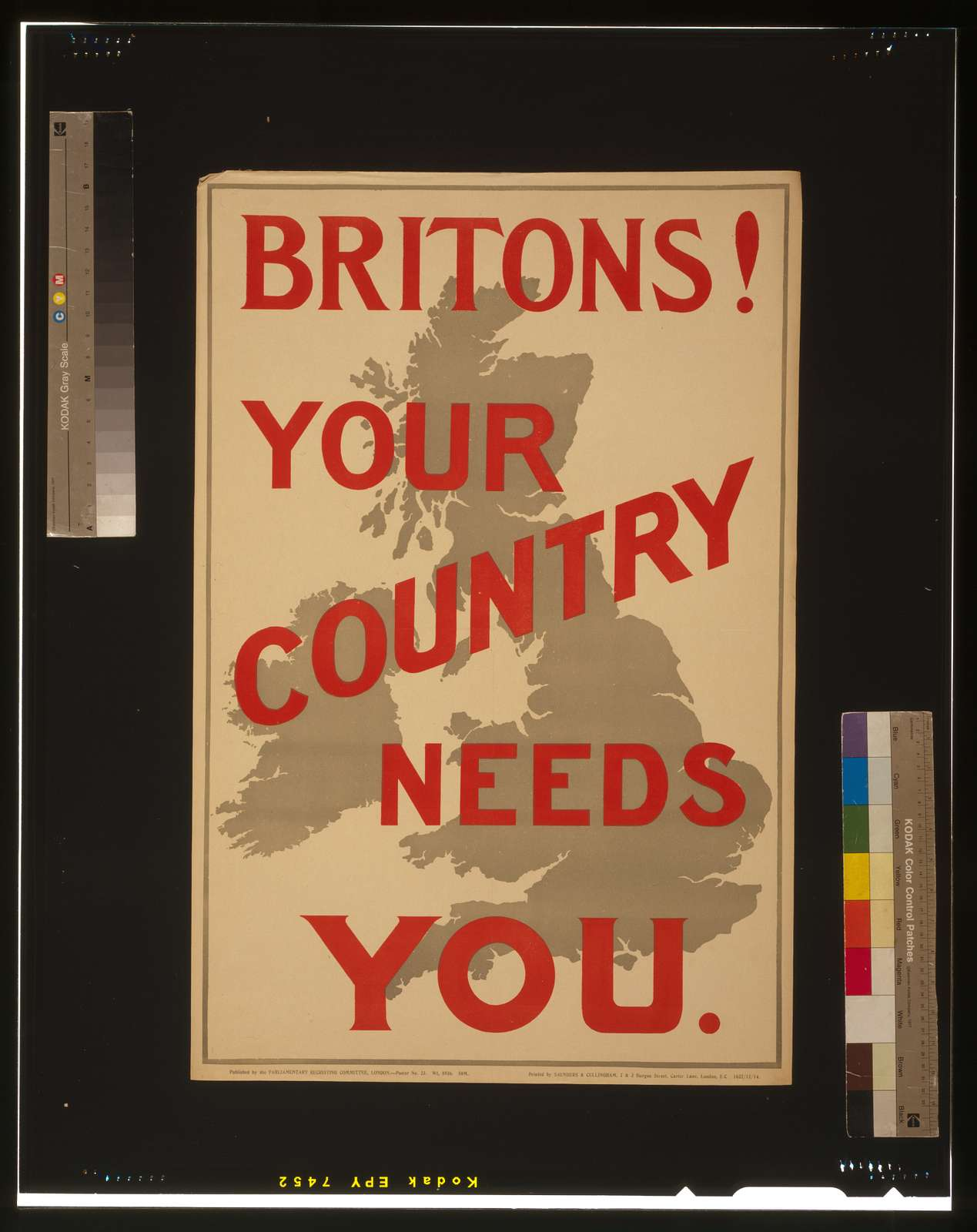 Britons! Your country needs you / Printed by Saunders & Cullingham, 2 & 3 Burgon Street, Carter Lane, London, E.C.