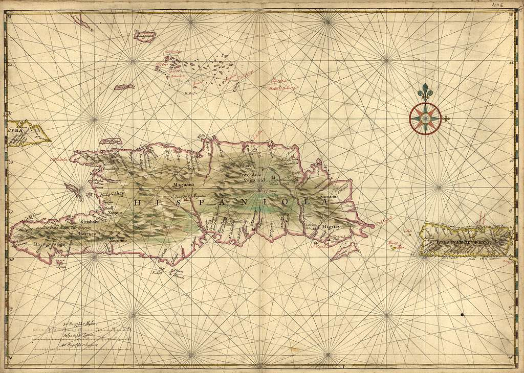 [Map of the islands of Hispaniola and Puerto Rico].