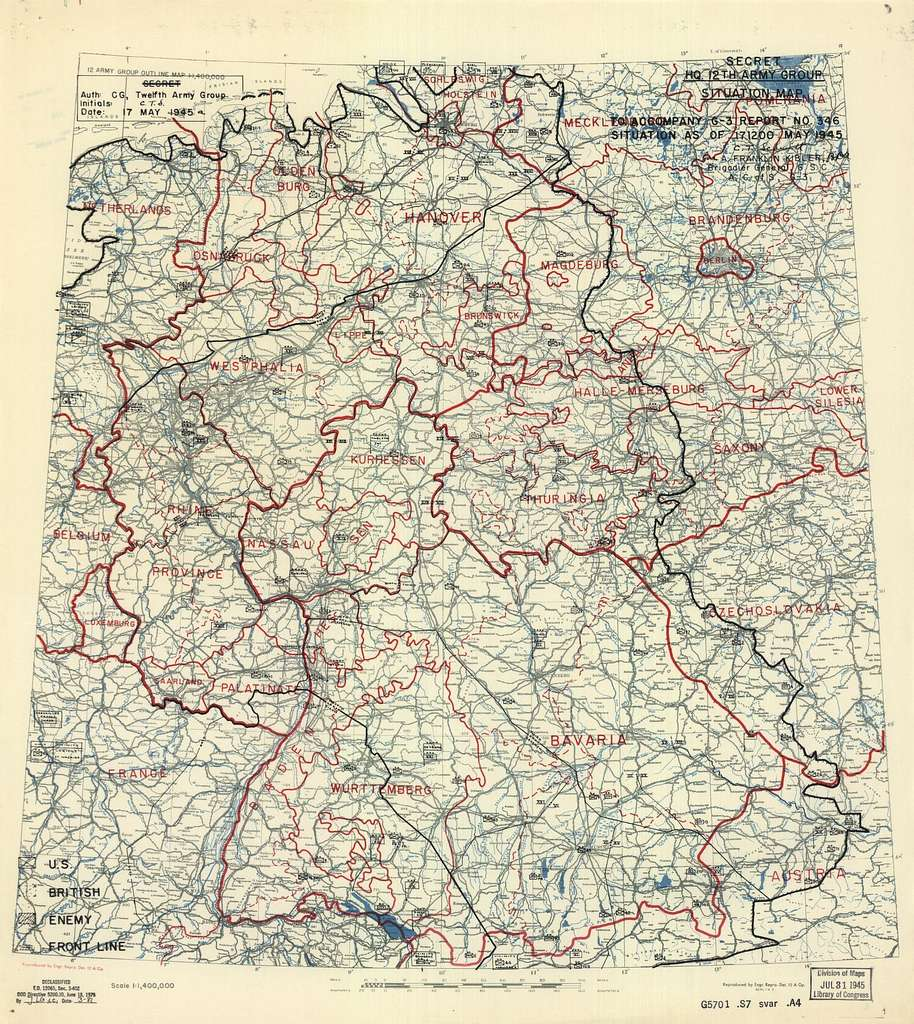 [May 17, 1945], HQ Twelfth Army Group situation map.