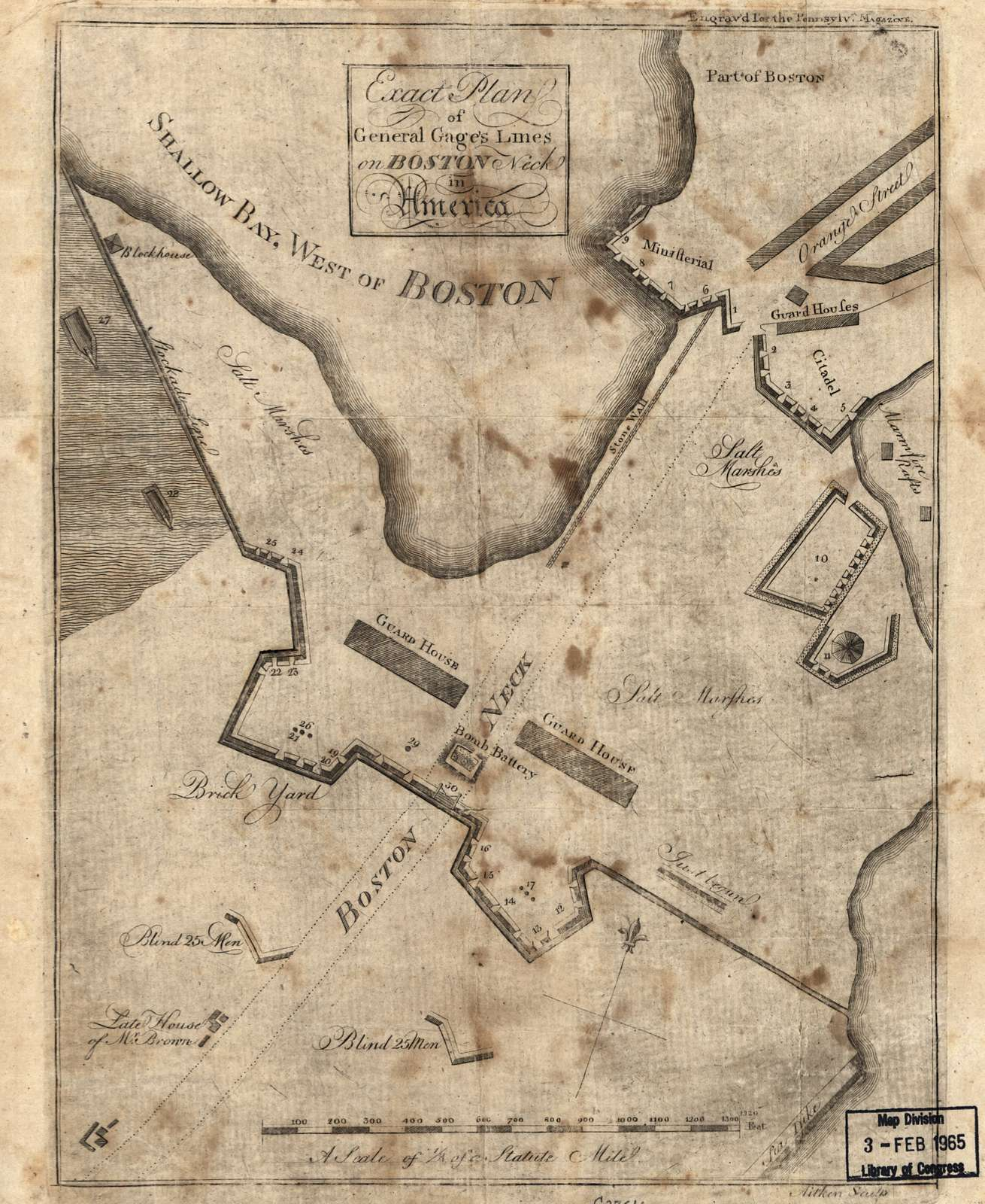 Exact plan of General Gage's lines on Boston Neck in America.
