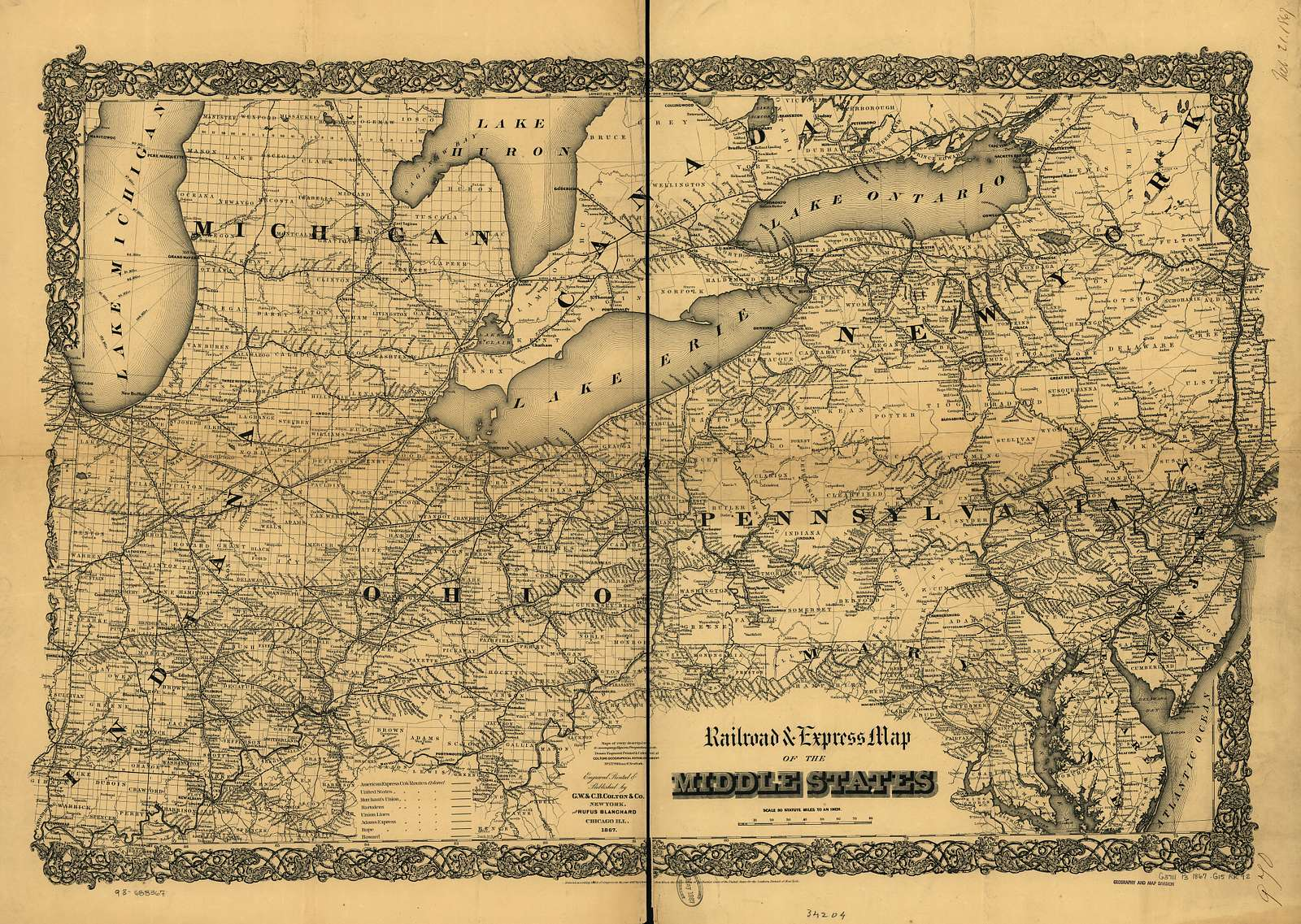 Railroad & express map of the middle states.