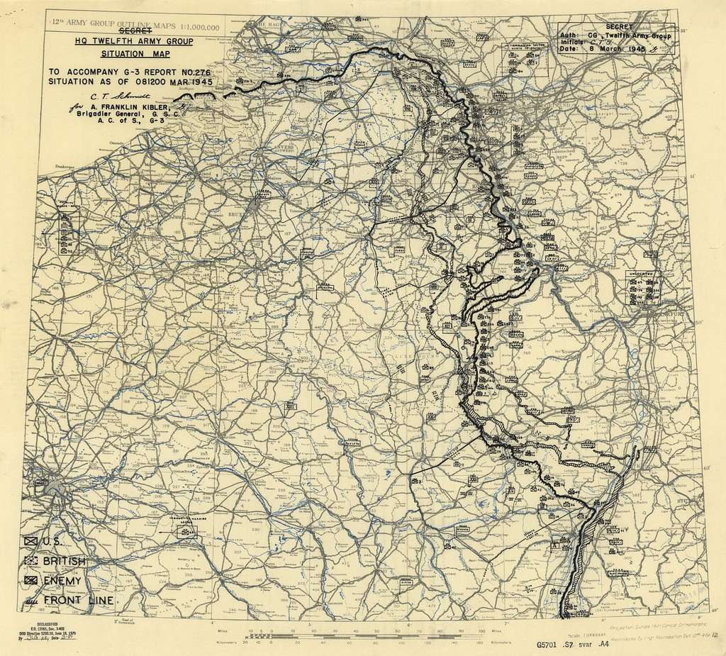 [March 8, 1945], HQ Twelfth Army Group situation map.