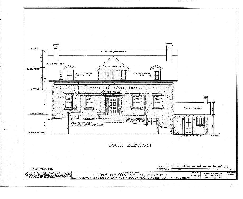 Martin Berry House, Jackson Avenue & Route 23, Pompton Plains, Morris County, NJ