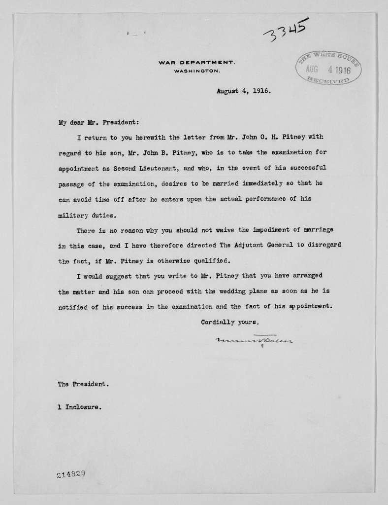 Woodrow Wilson Papers: Series 4: Executive Office File, 1912-1921; 3341