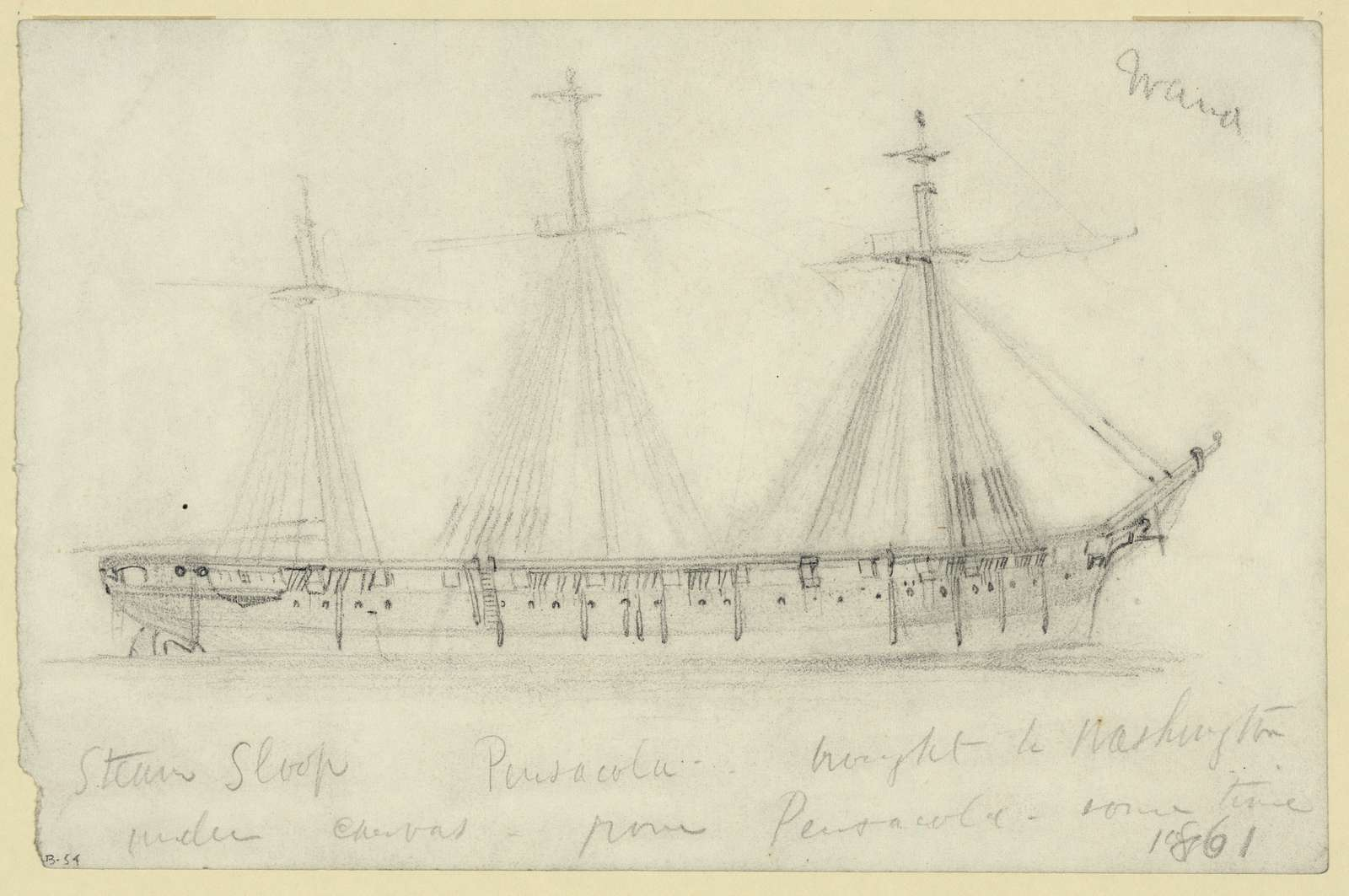 Steam Sloop Pensacola brought to Washington under canvas from Pensacola, some time 1861