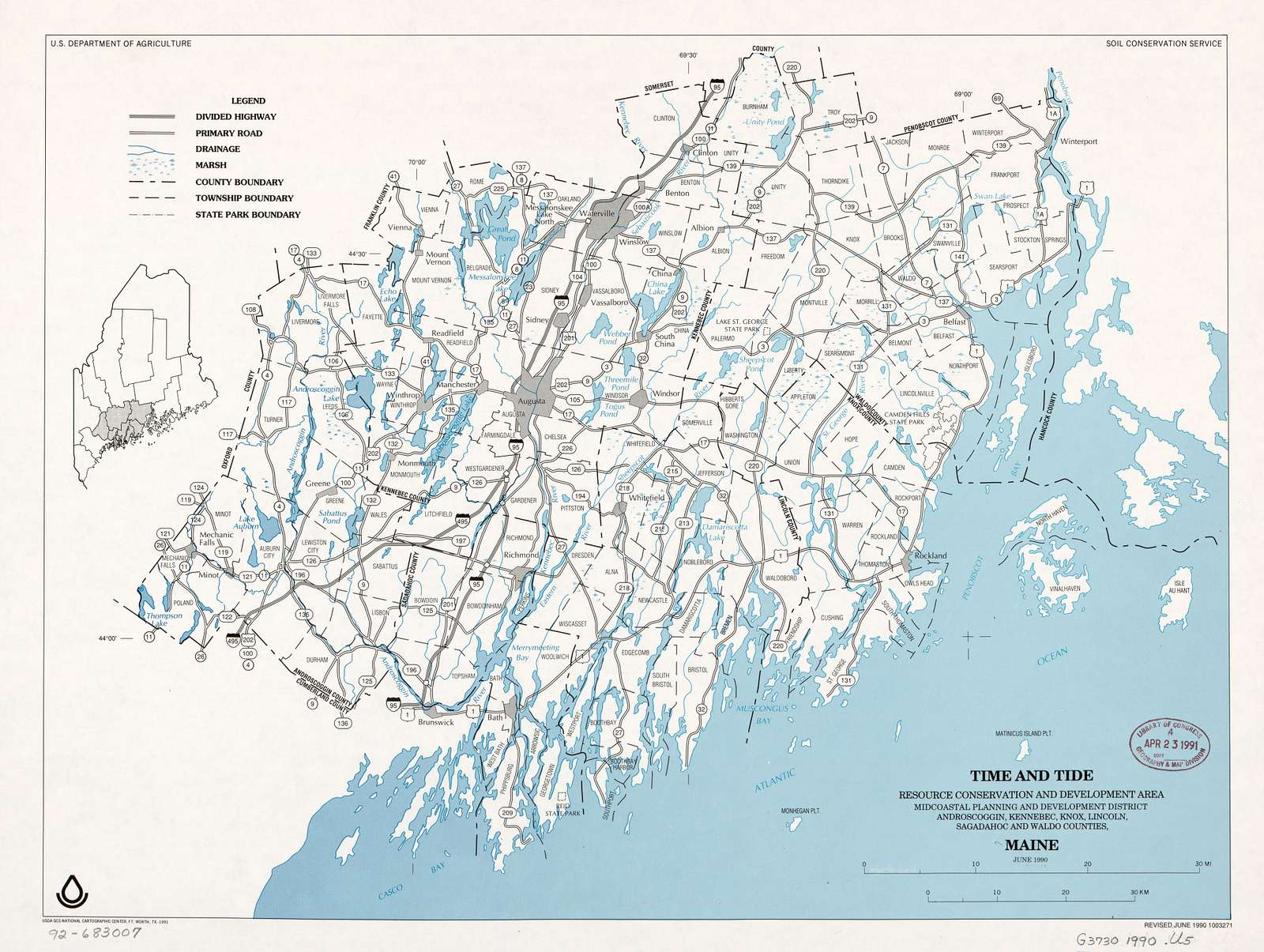 Time and Tide Resource Conservation and Development Area, Midcoastal Planning and Development District, Androscoggin, Kennebec, Knox, Lincoln, Sagadahoc, and Waldo counties, Maine : June 1990 /