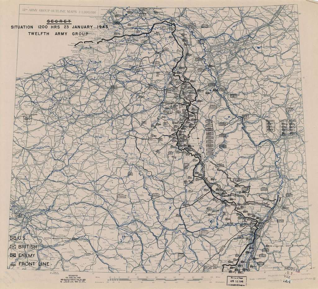 [January 23, 1945], HQ Twelfth Army Group situation map.