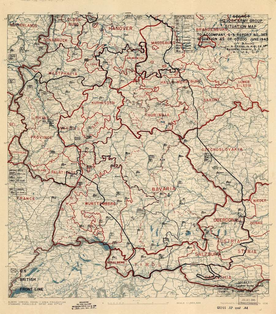 [June 3, 1945], HQ Twelfth Army Group situation map.