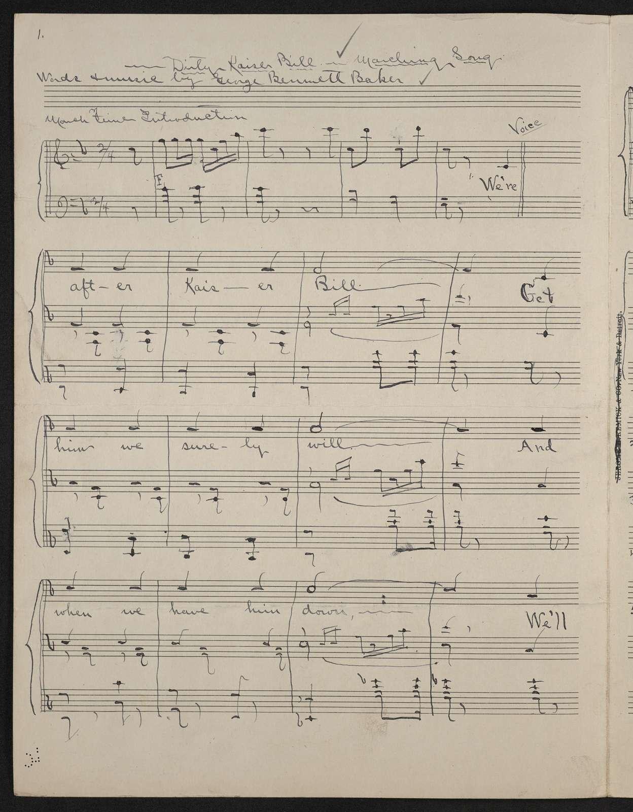 Dirty Kaiser Bill a marching song