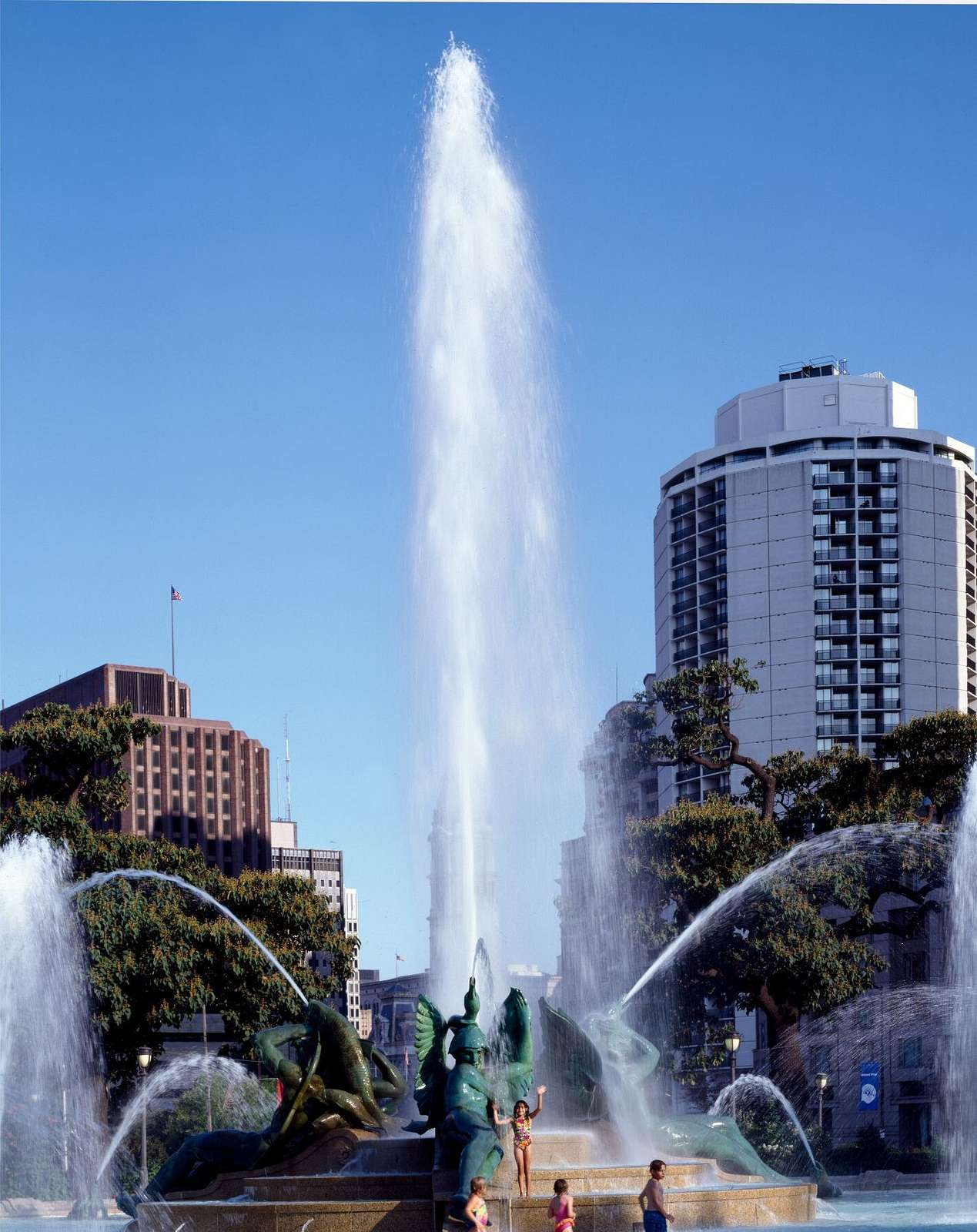 Swann Memorial Fountain (also known as the Fountain of the Three Rivers) is a fountain sculpture located in the center of Logan Circle, Philadelphia, Pennsylvania