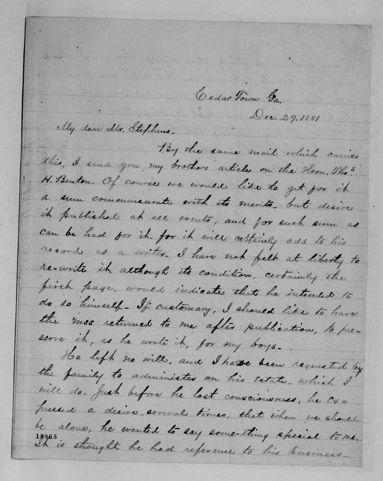 Alexander Hamilton Stephens Papers: General Correspondence, 1784-1886; 1881, July 30-1882, Mar. 4
