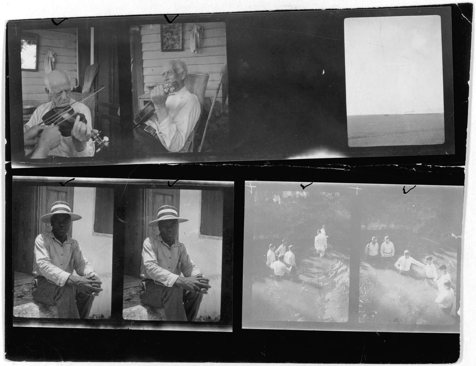 [Two portraits of Cajun fiddler Horace Foreman, Louisiana; Two portraits of a farmer(?); Views of a baptism near Mineola, Texas; One unidentified photo]