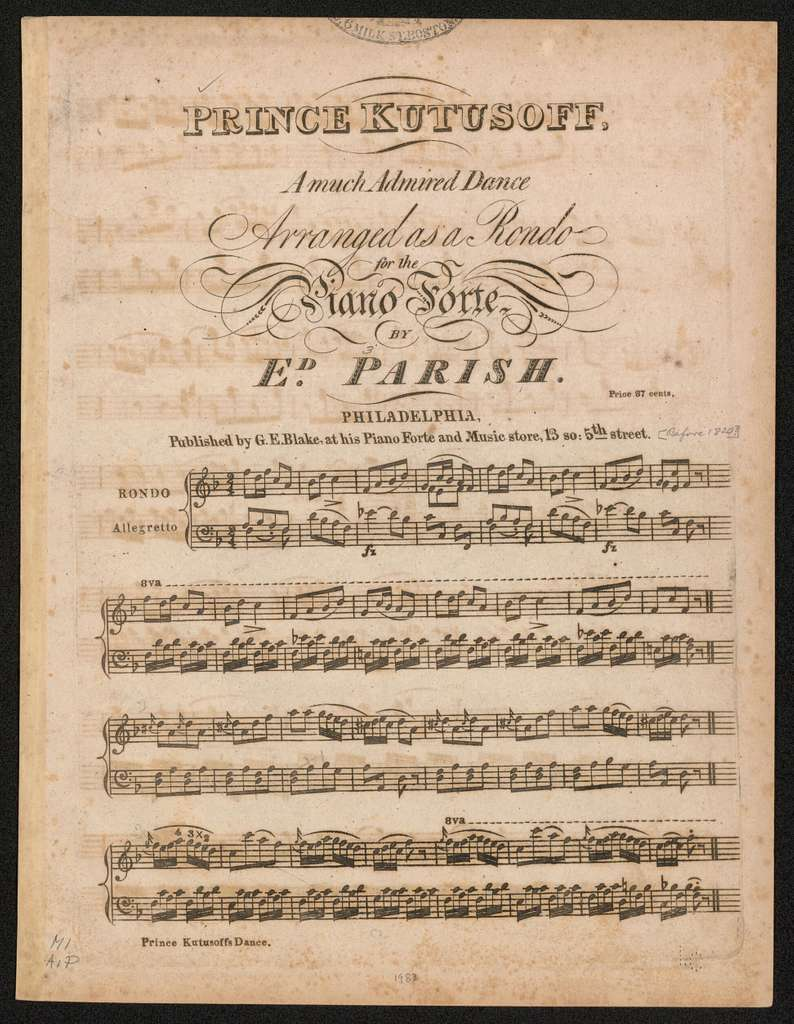 Prince Kutusoff a much admired dance ; arranged as a rondo for the piano forte ; price 37 cents