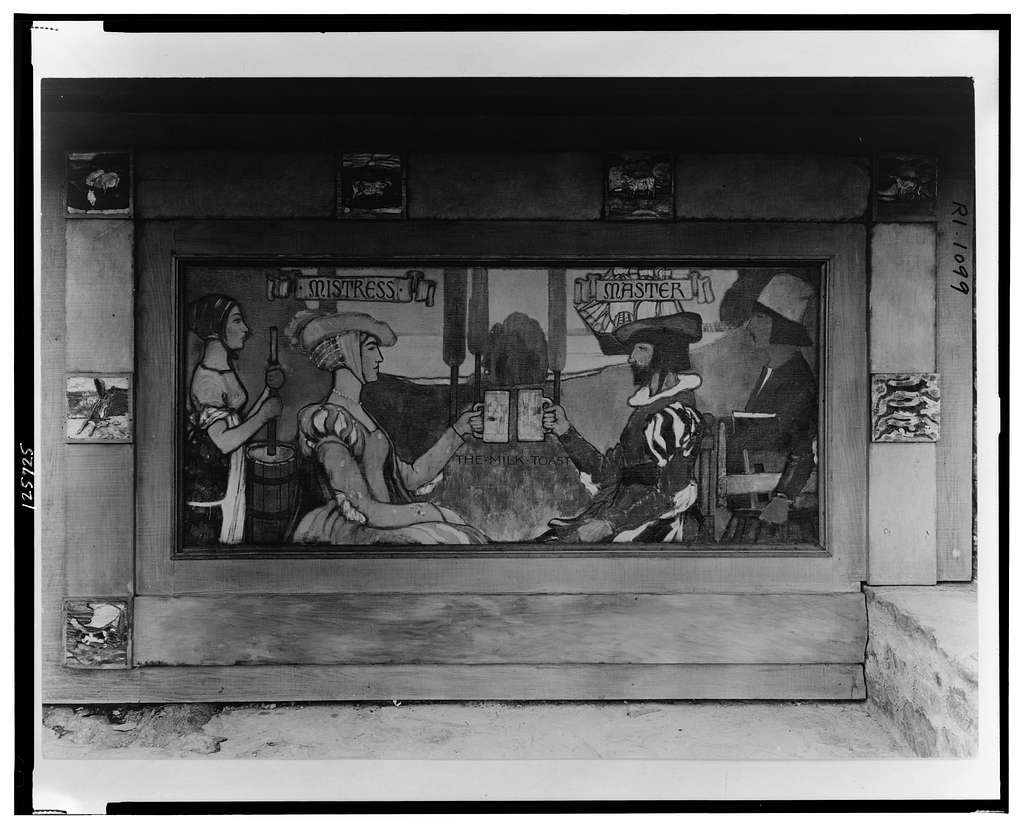 "[""Surprise Valley Farm,"" Arthur Curtiss James property, Beacon Hill Road, Newport, Rhode Island. Detail of mural, ""The Milk Toast"", exterior wall]"