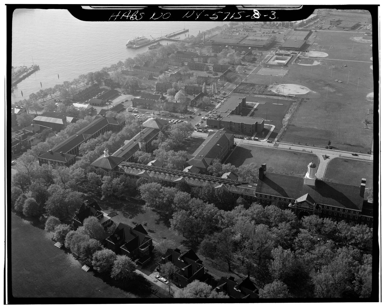 Governors Island, Infantry Regimental Barracks, New York Harbor, Clayton Road between Wheeler & King, New York, New York County, NY