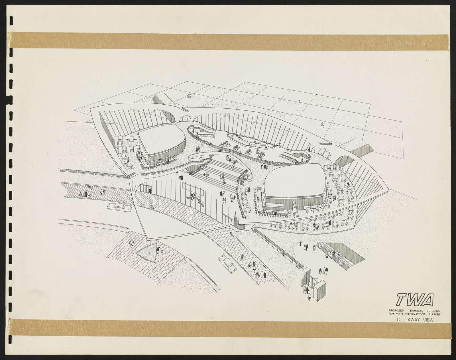 [TWA Terminal, John F. Kennedy International Airport, New York, New York. Cutaway perspective]