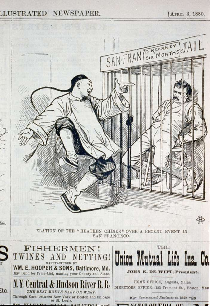 """Elation of the """"heathen Chinee"""" over a recent event in San Francisco [caricature of a Chinese man pointing and laughing at Denis Kearney in San Francisco jail]"""